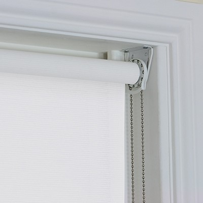 White Fabric Changer Roller Blind close up with chain